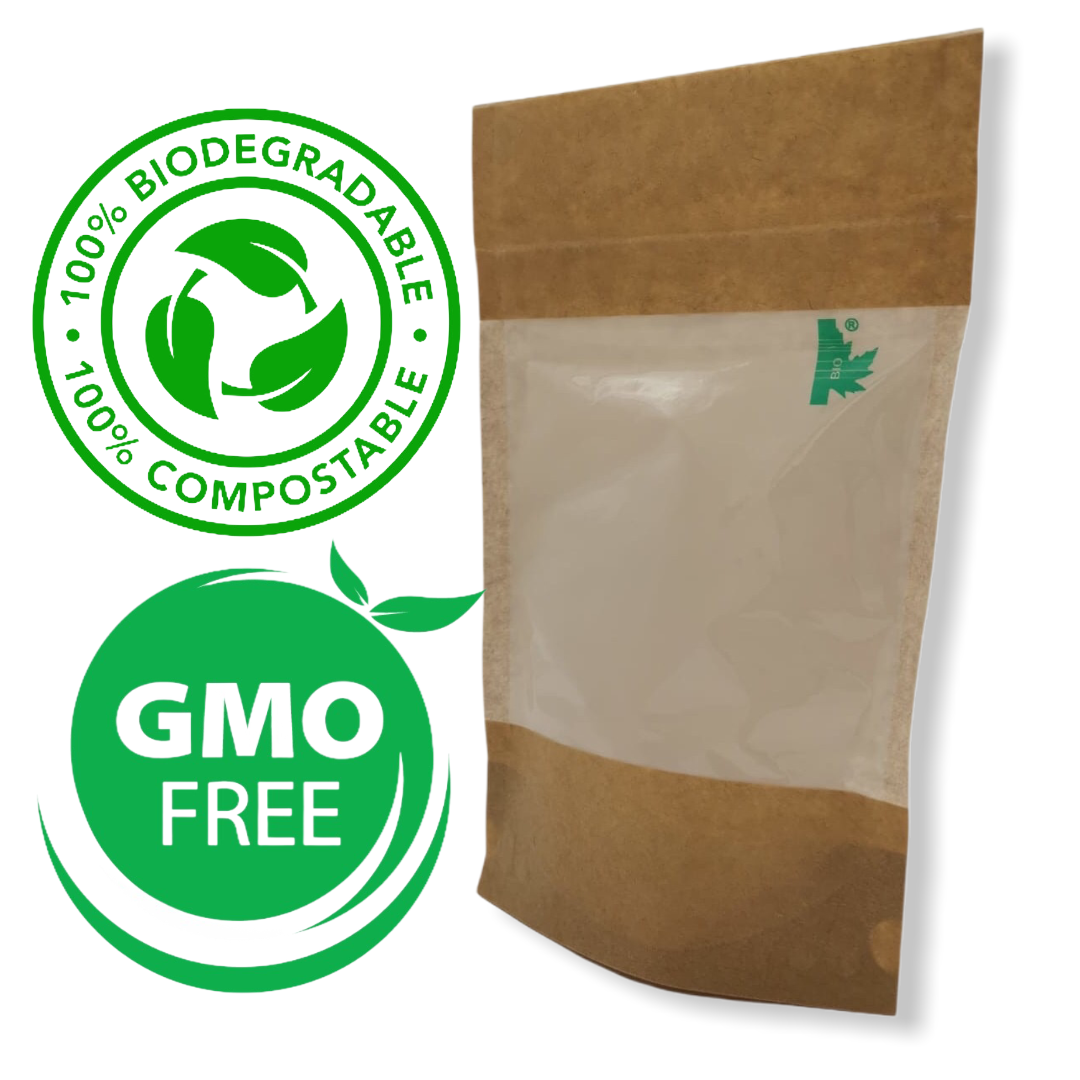 100% no plastic biodegradable and compostable pouches